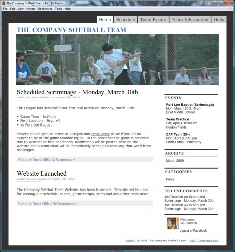 The Company Softball Team Website Screen Shot