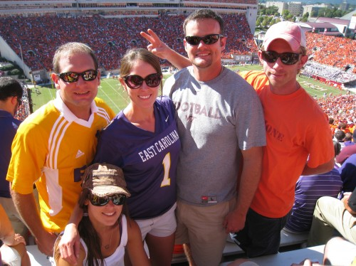 Jon, Sarah, Beth, Chris and Matt at the ECU/VT Football game in Lane Stadium in Blacksburg, VA