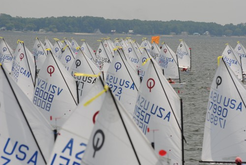 Optimist Sails at Start during the 2010 USODA Layline Nationals