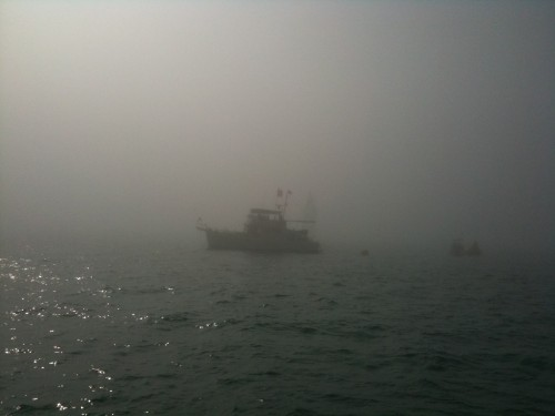 Fog surrounding the signal boat