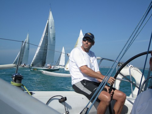 Travis at the helm just after the start of race 5
