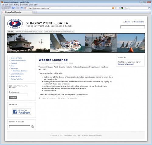Stingray Point Regatta website screen shot