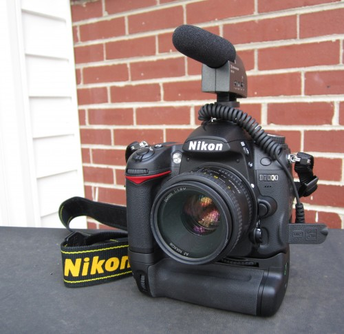 Nikon D7000 with Sennheiser MKE-400 and Grip