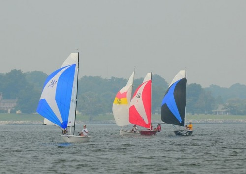 Front Runners and a Mobjack sailing downwind in the One Design Long Distance Race