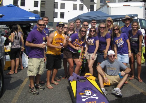 tailgate group photo: Jon, Tom, Steve, Erin, Brittany, Kevin, Laura Ashley, Chris, Heather, Warren, Lauren, Staci, Preston, Jen, JG, Stephanie
