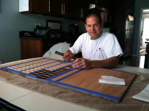 Aligning plaques on the Laser Masters Trophy